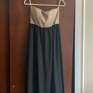 Champagne and Black Evening Dress